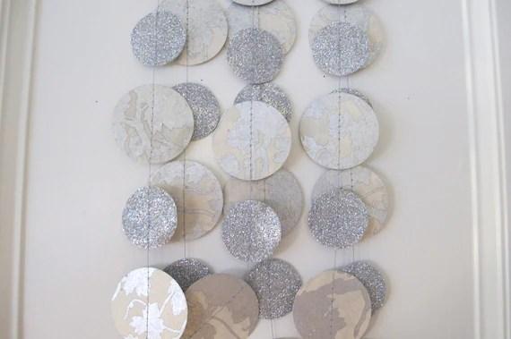 Silver and White Glitter Paper Garland: Wedding Garland - PaperJayneDebbie