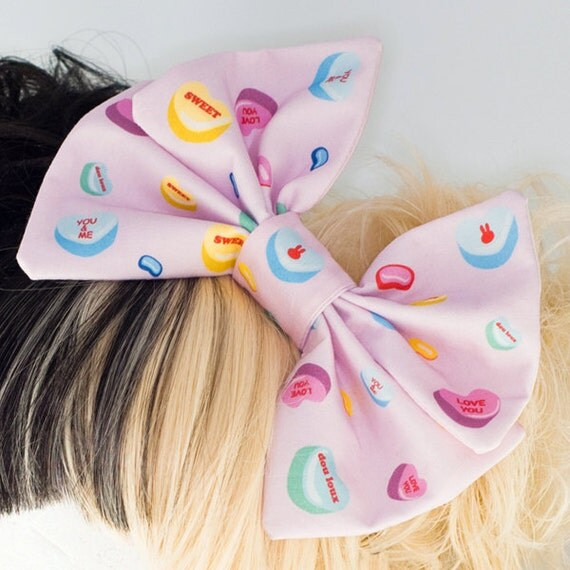 Fairy Kei Sweet Lolita Conversation Hearts Big Hair Bow Headband - douloux