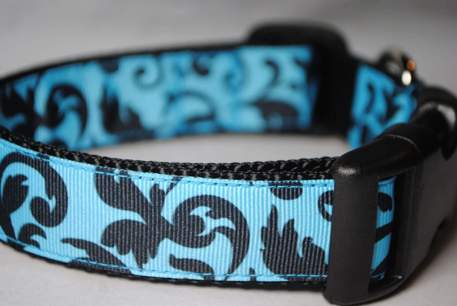 "Damask Print Black and Blue 1"" Width Adjustable Collar - Also available as a Martingale - swankypaws"