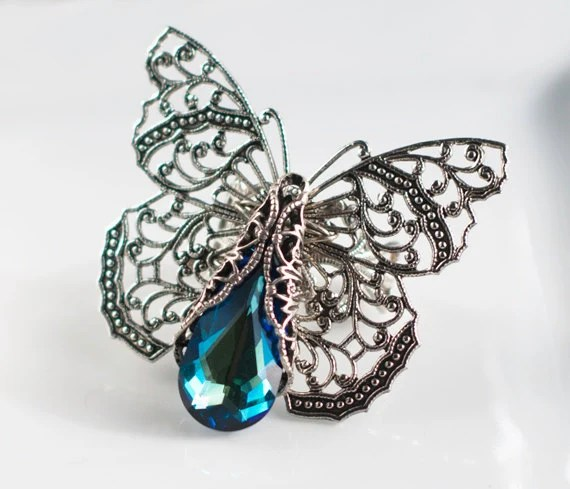 Butterfly Ring, Swarovski Bermuda Blue Crystal ,Victorian Butterfly Filigree Adjustable, Antique Ring, Silver Ring, Wedding, Bridesmaids