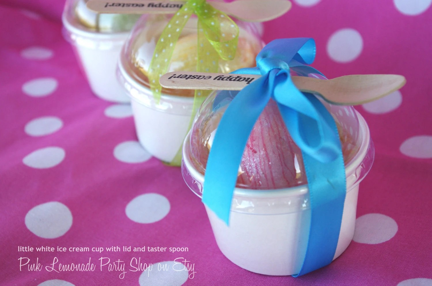 LiTTLe WHiTe PaPeR ICe CReaM CUPS-4oz with Diy printables CLeaR DoMe LiDS and wood taster spoons-Ice Cream-Showers-Weddings-10ct