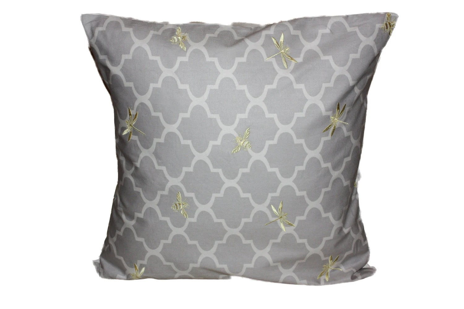 Decorative Cushion Pillow Cover  18 inch Embroidery, Gray, Yellow, Gold, Buzzing Dragonflies and Bumble Bees . Waverly