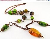 Christmas in July Spring Leaf Necklace. Yellow and Green Glass leaf beads & antiqued copper. - TheAmethystDragonfly