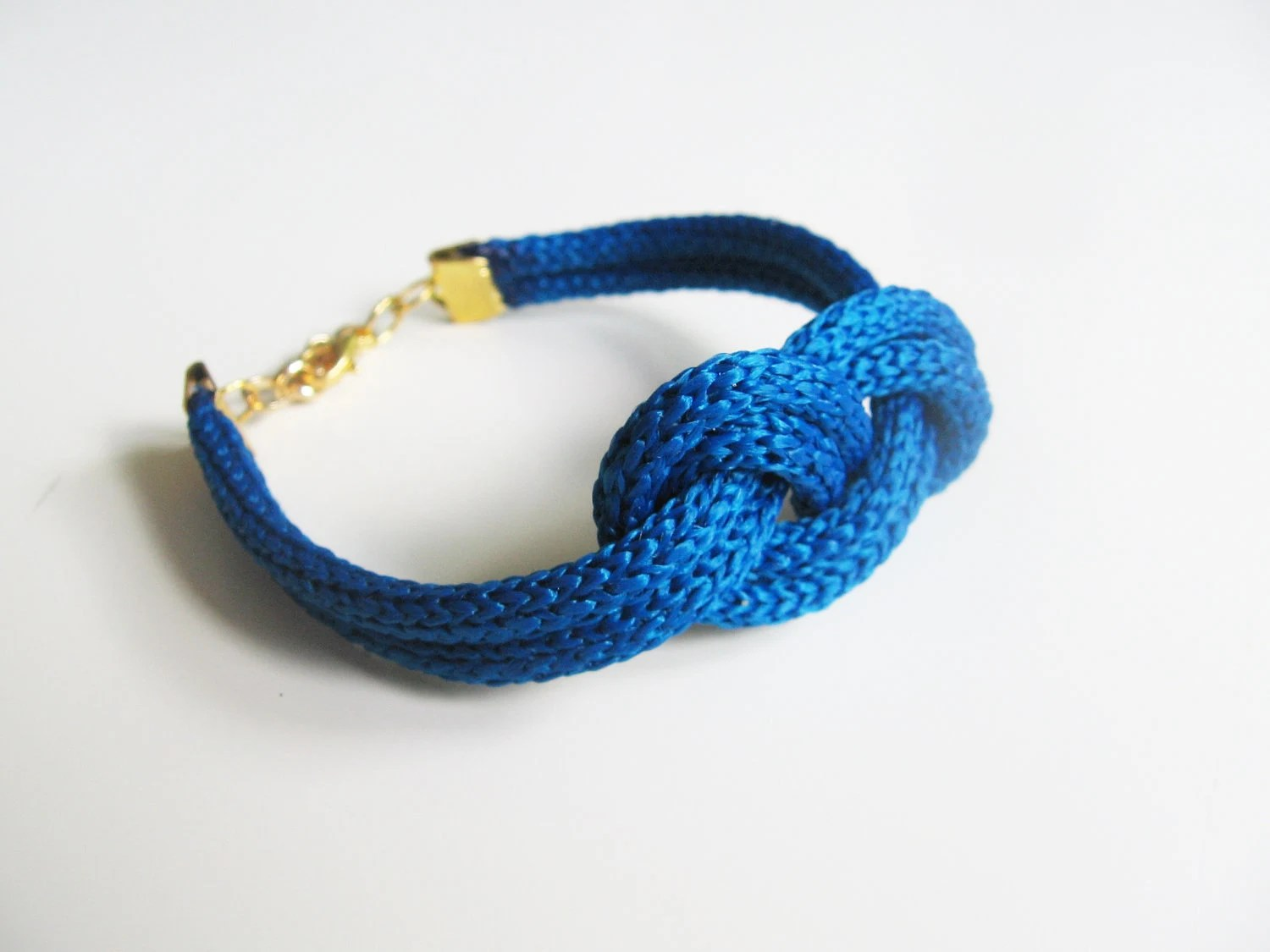 Blue navy rope bracelet- nautical cord sailor's knot bracelet with golden end caps - selenedream