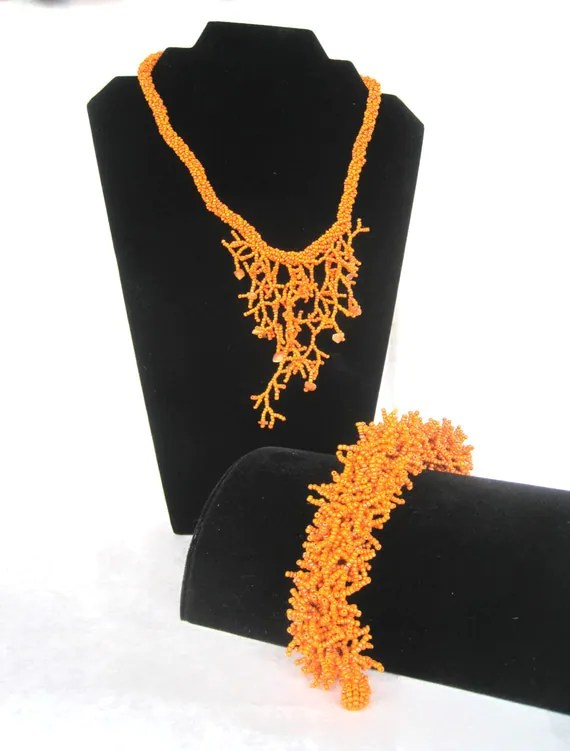 Faux Coral Beaded Necklace with Matching Bracelet
