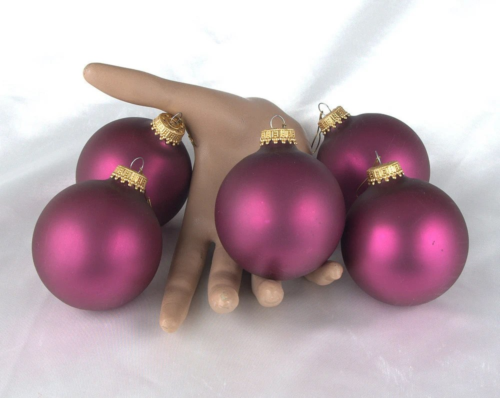 Vintage Mercury Glass Christmas Ornaments - Satin Finish Magenta - Set of 5 - BlackMagicEmporium