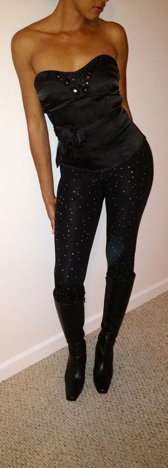 Sparkly Rhinestone Covered Ankle Length Leggings - Blingoutyourdiva