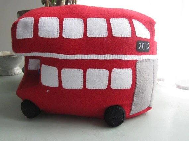 London Bus Cushion - Cuddly Toy Jubilee & London Olympics