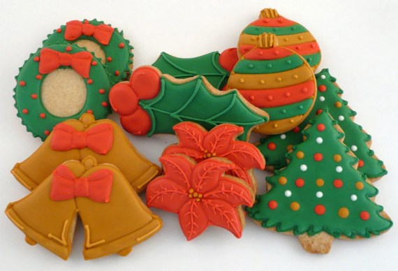 Decorated Cookies for Christmas - Wreath - Ornament - Bells - Holly - Poinsettia - Christmas Tree - katieduran