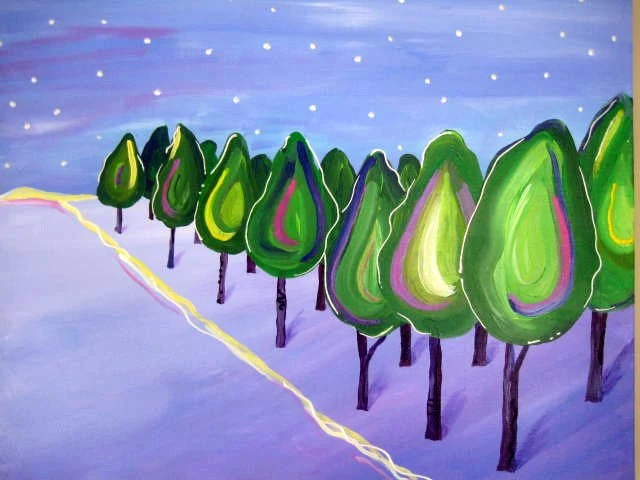 "ORIGINAL Tree Landscape Painting Jewel Tones Contemporary Acrylic Canvas, 20"" x 16"". - TracyHallArt"