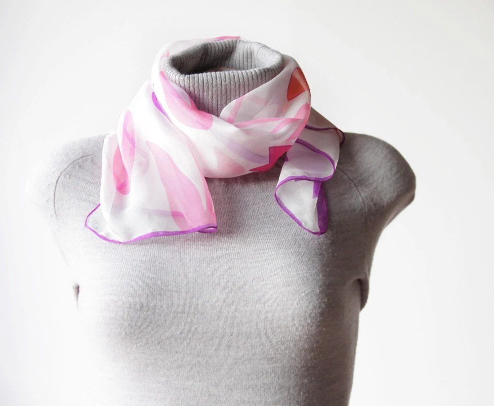 Christmas Sale - Vintage Long Scarf by JG - Floral, Tulip printed, Pink, Purple and White - 53 - soStyle