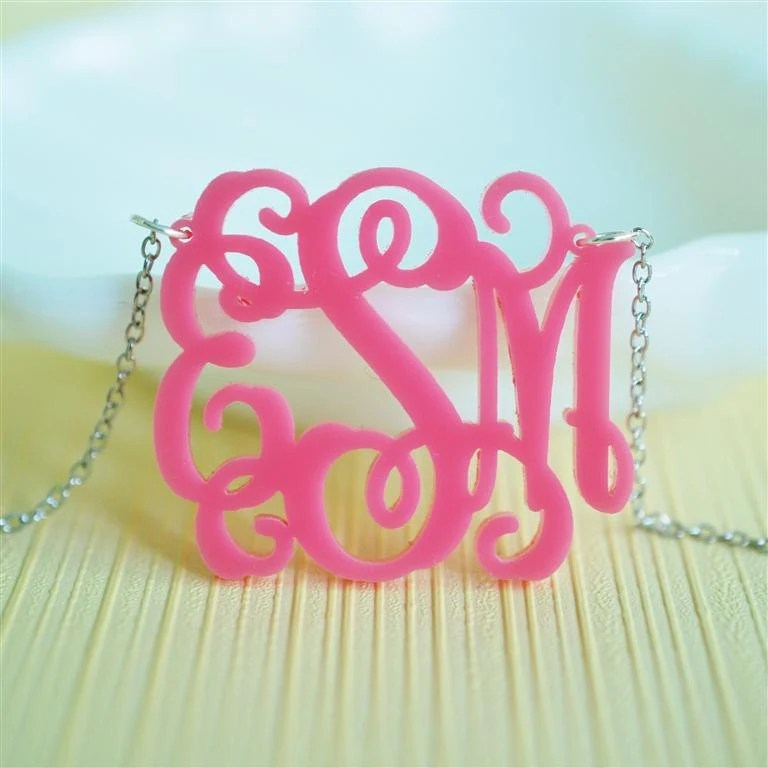 Vine monogram acrylic necklace