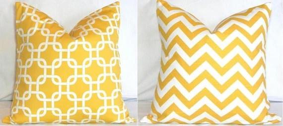 Two 18 x 18 Pillow Covers: Yellow and White Chevron Zig Zag & Gotcha Lattice