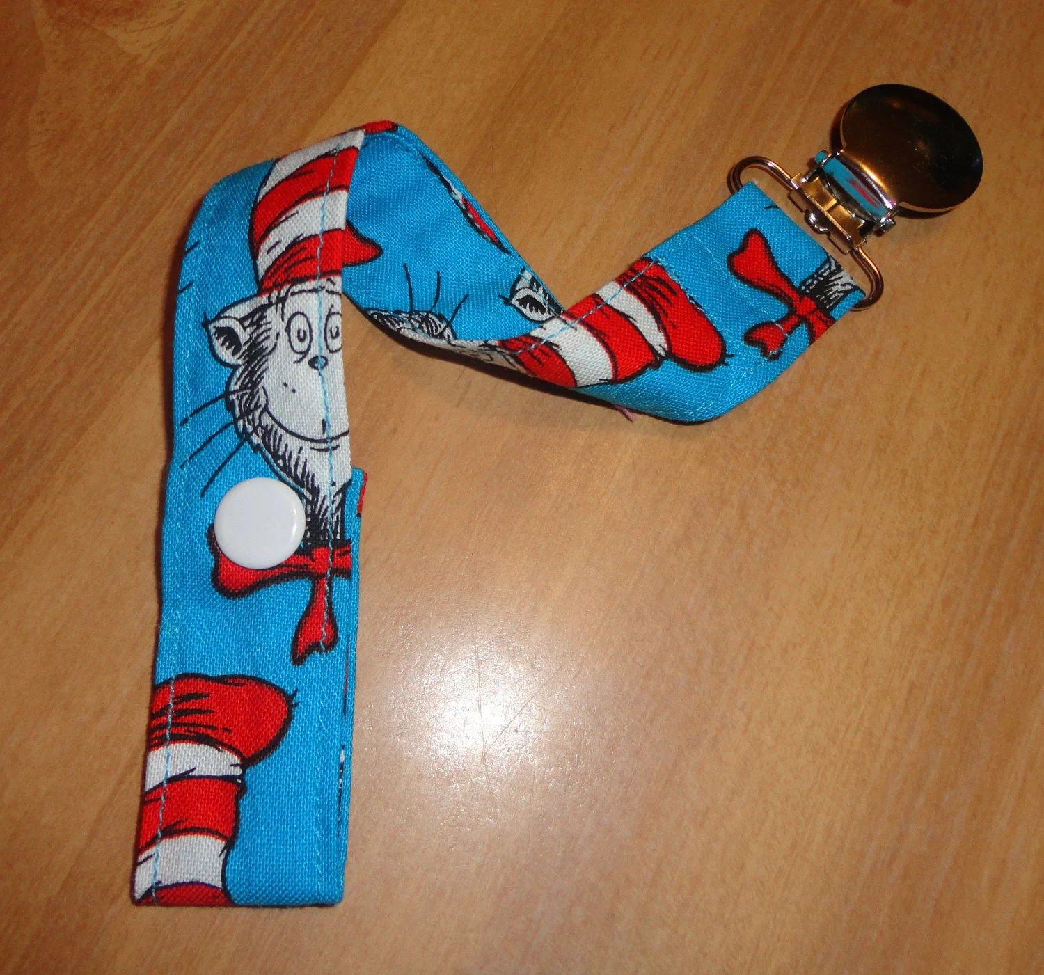 Dr Seuss Blue Print Pacifier / Binky / Passy / Toy Holder - TotallyKidding