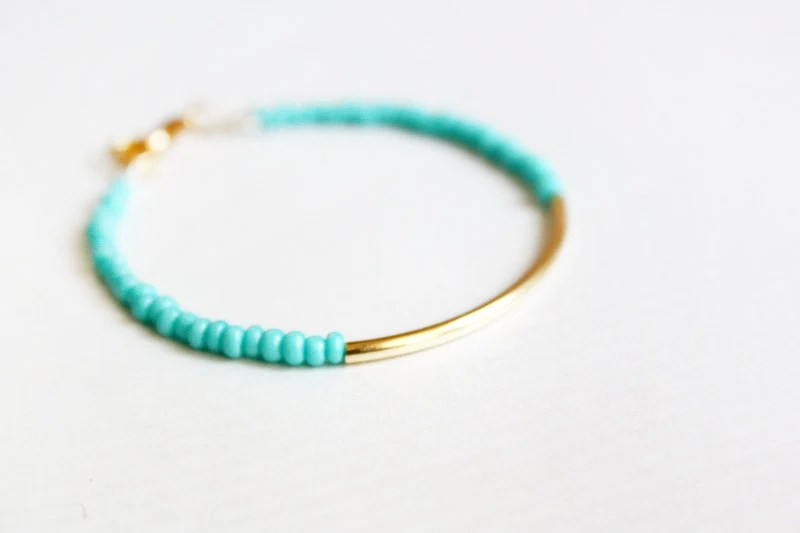 mint gold bar bracelet - minimalist jewelry - friendship bracelet (B014) - PetiteCo