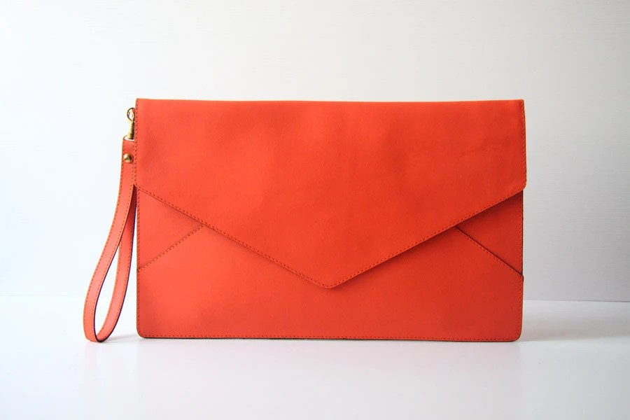 Oversize Envelope Leather Clutch in Tangerine