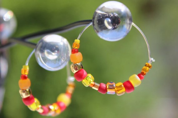 Beaded Hoop Earrings - Fire - CuteMareZDotes