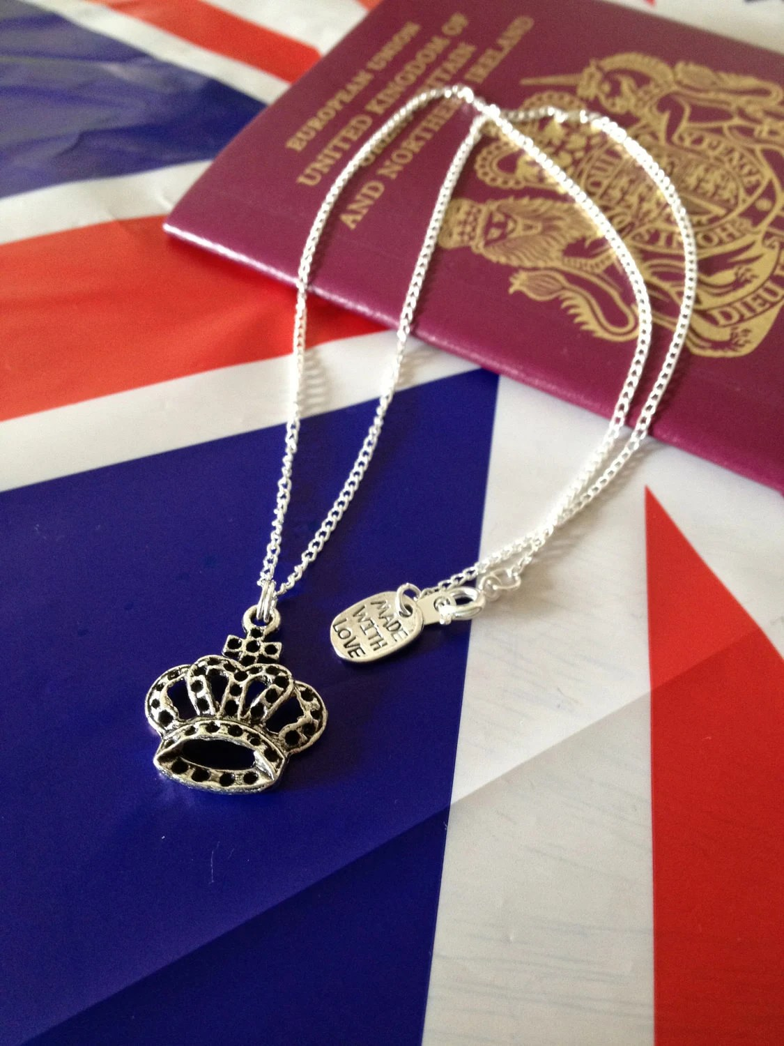 SALE Jubilee Crown Necklace, silver plated chain