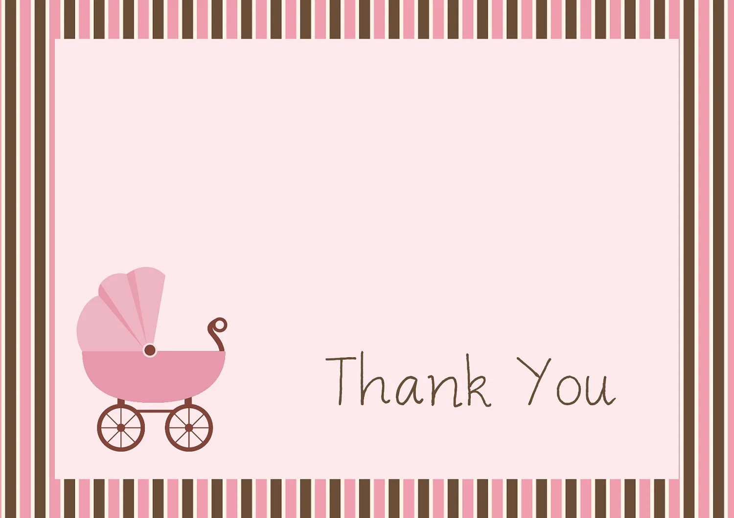 Girl Baby Buggy Thank You Notes