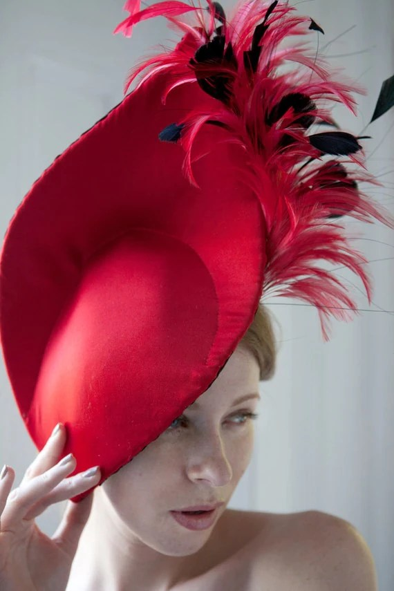 Bespoke Red feather Headpiece - GemmaJMillinery