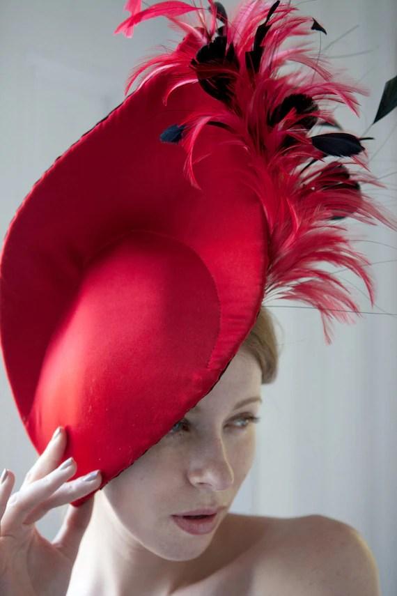 Bespoke Red feather Headpiece - GemmaJMillinery