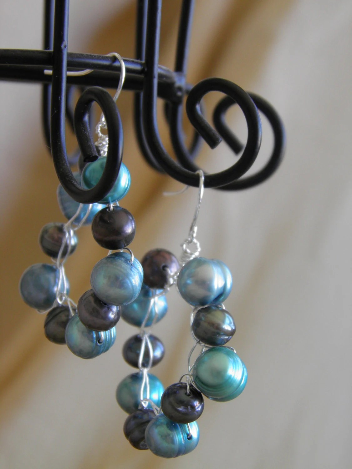 Teal & Peacock Freshwater Pearl Woven Boho Beaded Hoop Earrings