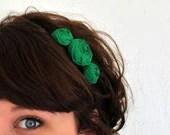Kelly Green Rosette Flower Headband - Green Floral Statement Headpiece - FoldingChairDesigns