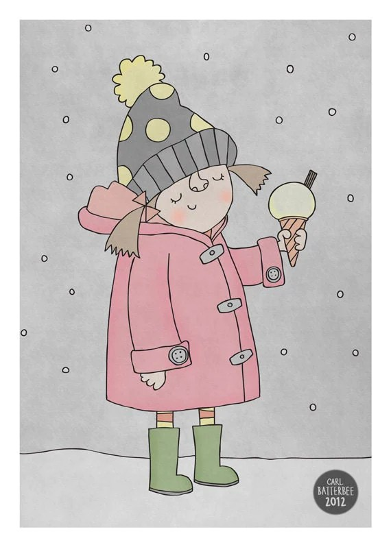 Ice cream in the snow - Pen and Ink Illustration - 5 x 7 Print