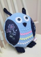 Owl Pillow, Embroidered Denim & Lt Blue with Ric Rac, Upcycled - BecomingBearsETC