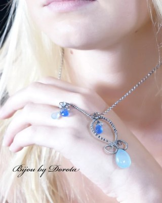Magic and Romance- Sterling Silver Wire wrapped necklace with Blue chalcedony briolettes