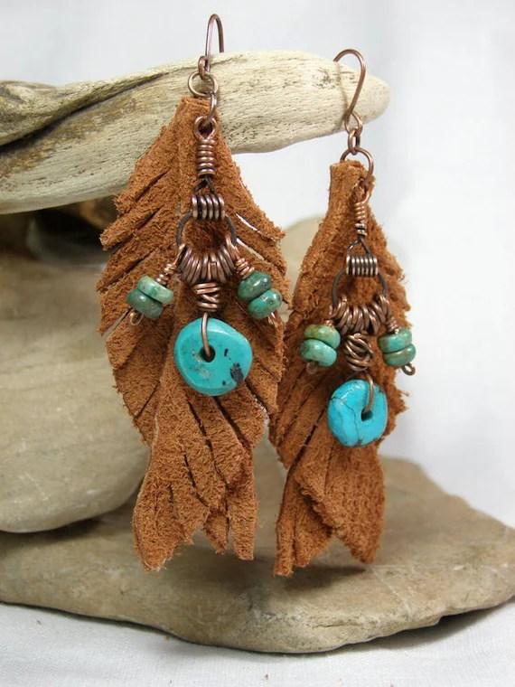 Turquoise Earrings - Feather Earrings - Leather Earrings - Native Earrings - Tribal Jewelry - Suede