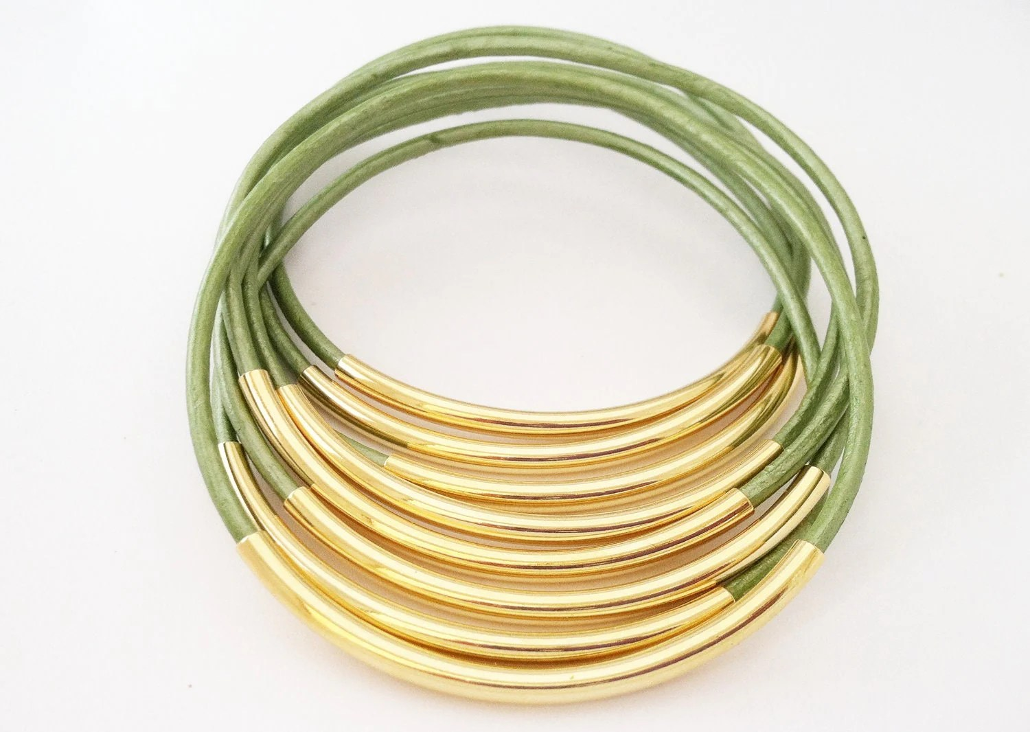 Juniper Green Leather Bangles with Gold or Silver Tubes - Leatherwraps