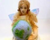 Art cloth doll EARTH ANGEL fairy soft sculpture - ConchyGemDolls