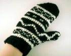 Black and white fairisle mittens , fairisle gloves , black and white gloves , knit black gloves - ismism