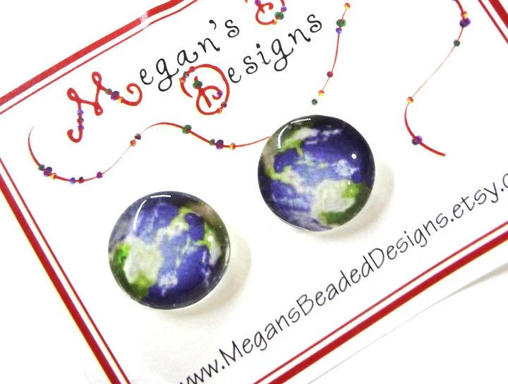 Earth Earrings - Glass Cabochon Posts - Glamour365