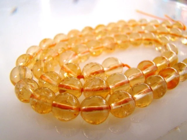Natural Golden Citrine Smooth Round Beads