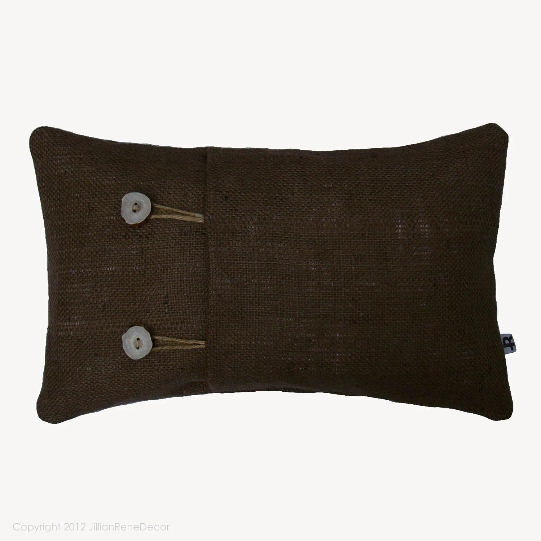 Rustic Deer Antler Buttons - PILLOW COVER in Brown Burlap by JillianReneDecor Woodland Cabin Winter Home Decor Gift for Him - JillianReneDecor