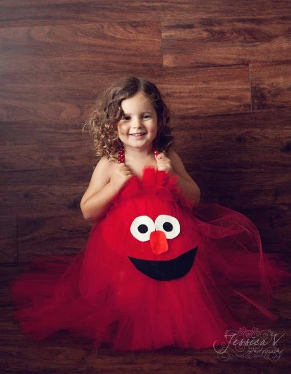 Elmo Inspired Halloween or Birthday Tutu Dress Costume for birthday or dress up playtime LAST DAY to ORDER Oct 15th for Halloween - shoppe3130