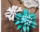 Vintage Flower Statement Necklace, Shabby, Chic Floral Collage, Pastel Pink, Turquoise, Eco Friendly Summer Jewelry - beevintageredux