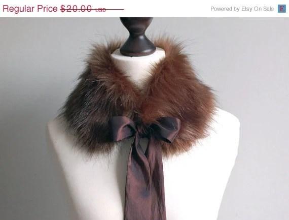 SALE 10% OFF Brown faux fur collar - imali
