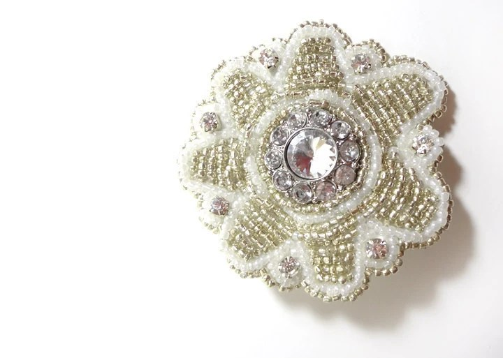Sparkling Silver and Rhinestone Beaded Hair Clip - MegansBeadedDesigns