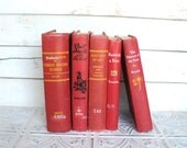 Red Books by Color Bundle vintage Decorative Books Instant Library Collection Photography Props - sorrythankyou79