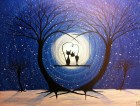 Cats on a swing painting-My winters romance- 16 x 20 acrylic by Michael H. Prosper - MichaelHProsper