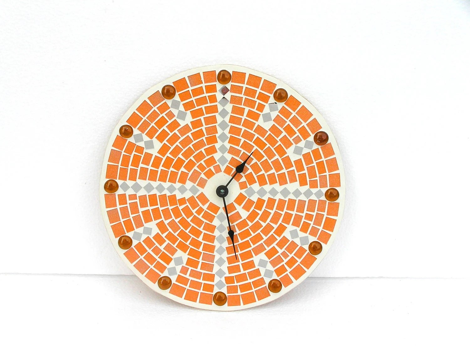 Orange wall clock large tangerine tango mosaic mixed media - SirliMosaic