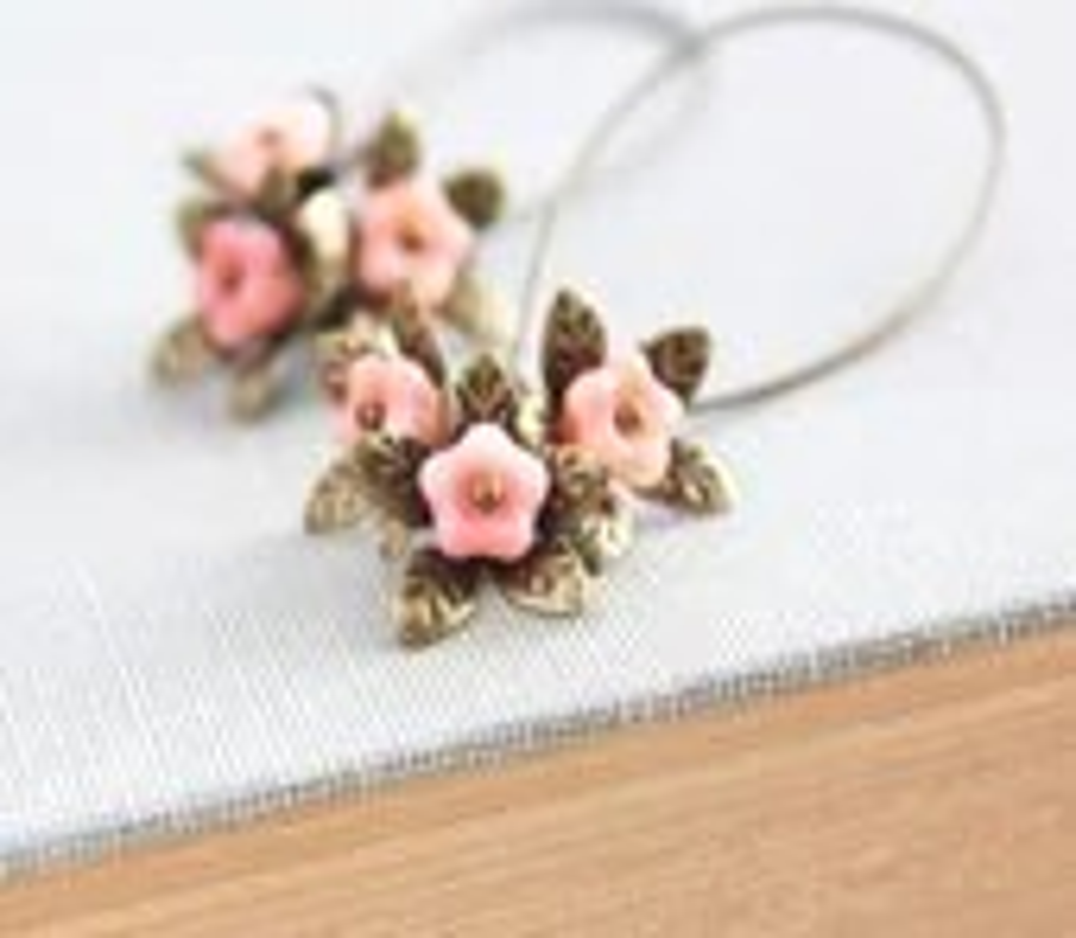 Long Earrings, Dangle Earrings, Pink Peach Flower, Brass Leaf, Glass Bead, Antique Brass Leaf, Nature Inspired Jewelry, Unique Earrings - apocketofposies
