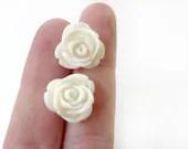 White Rose Bridal Earrings - Glamour365