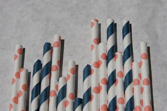 200 Paper Straws, Coral Dot & Navy Stripe Mix