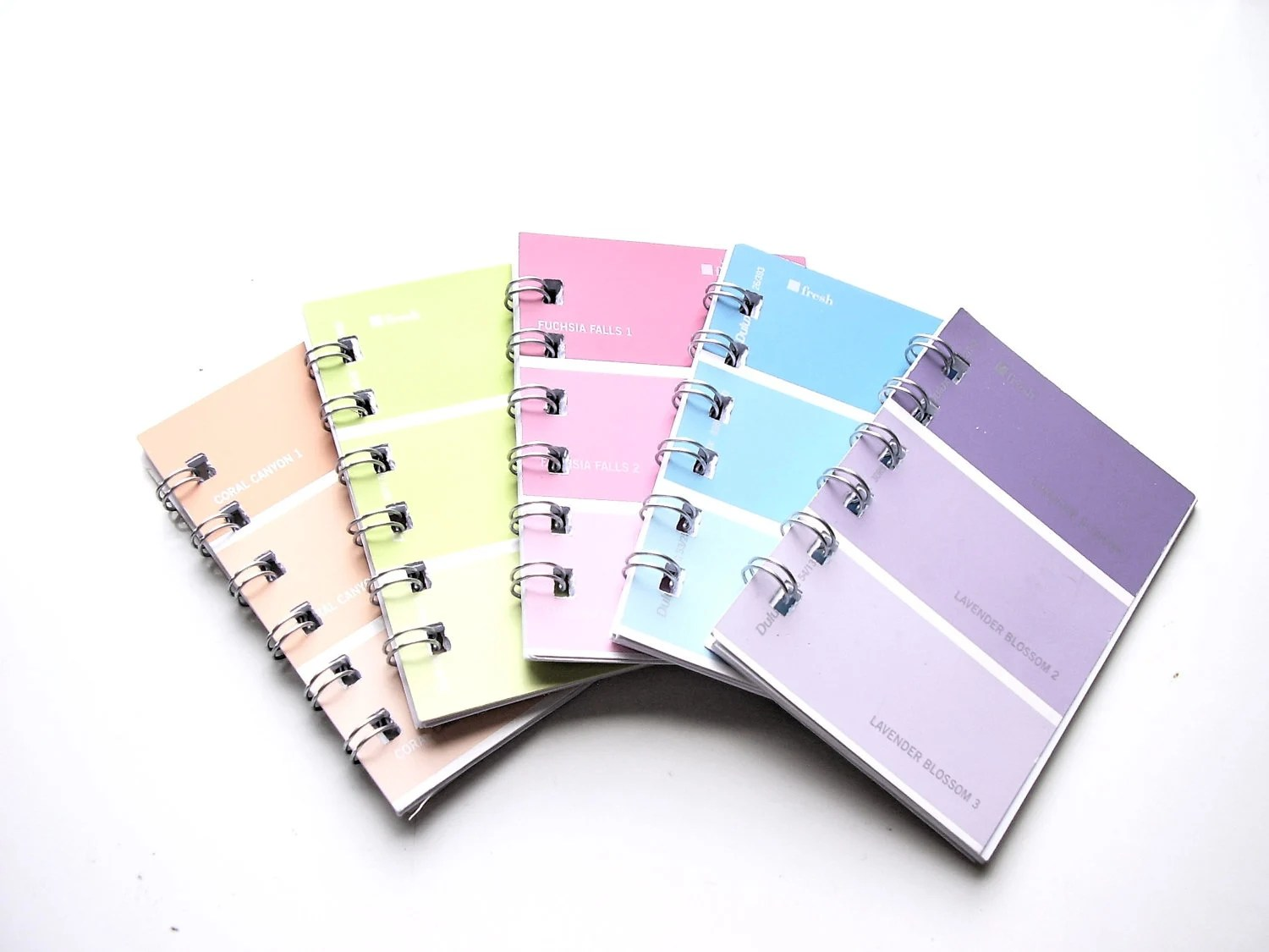 Mini notebooks Set of 5 Recycled Paint Chip Rainbow Color Purse Jotters - greenelephantuk