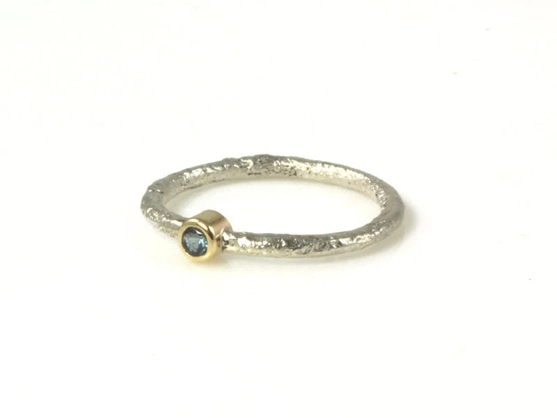 Blue Gemstone Stacking Ring , 14kt gold and Silver - Made to Order - houseonhudson