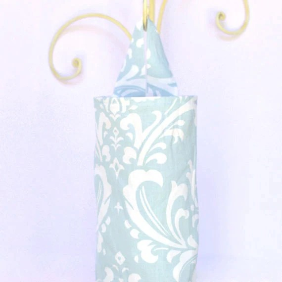 Fabric Plastic Grocery Bag Holder Smoky Light Blue and White Flourish - ablemabel